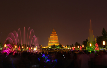 North Square of Big Wild Goose Pagoda and Music Fountain Show